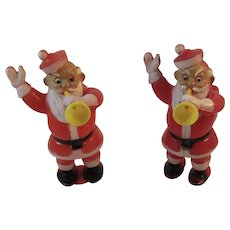 2 Santa Candy Containers With Horns and Waving Hard Plastic Vintage Christmas Rosbro Rosen