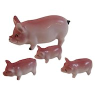 Porcelain Pink Pig Family Mama and Three Little Pigs Piggies Miniature