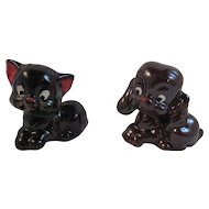 1950s Redware Pottery Black Cat Brown Puppy Dog Figurines