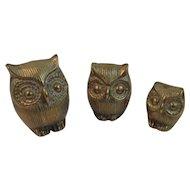 Brass Owl Family Graduated Sizes Vintage Mid Century Decor Mid-Century