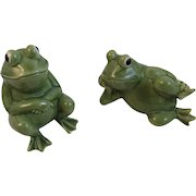 Norcrest Frog Salt and Pepper Shakers Hand Decorated Vintage Japan Ceramics