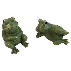 Norcrest Frog Salt and Pepper Shakers Hand Decorated Vintage Japan Ceramics