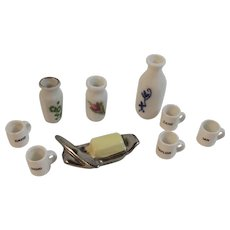 9 Dollhouse Miniatures Vases Coffee Mugs and Butter Dish Porcelain and Ceramic