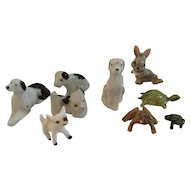 9 Dollhouse Miniatures Dogs Bunny Turtle and Frogs Porcelain Ceramic and Clay