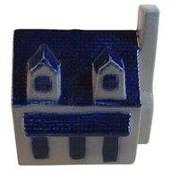 Eldreth Pottery House Bank Salt Glazed with Cobalt Decoration Pennsylvania Folk Art Hand Made