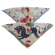 2 Child Hankies Tom Lamb Duck on Horse and Girl with Bunny Hankie Hanky Handkerchief Childrens Kids Great for Easter