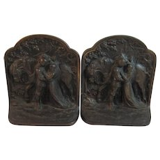 Hubley Fairy Tale Knight and Maiden Book Ends Bookends Cast Iron Number 313 - Red Tag Sale Item