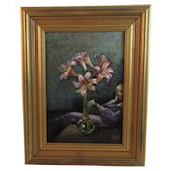 Lilies - Original Oil on Board Painting by Ellen S Vander Noot