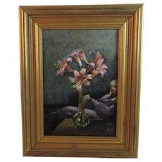 Lilies - Original Oil on Board Painting by Ellen S Vander Noot