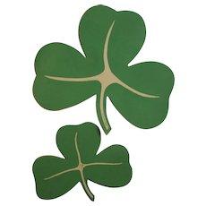 16 Vintage Shamrock Decorations Made in USA Cardboard St. Patrick's Day
