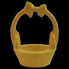 Rosbro Plastics Yellow Easter Basket with Bunnies Vintage Candy Container