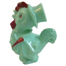 Irwin Green Rooster Rattle Easter Toy Vintage Hard Plastic