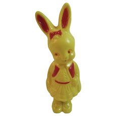 Irwin Easter Bunny Girl Rattle Vintage Hard Plastic Decoration Rabbit