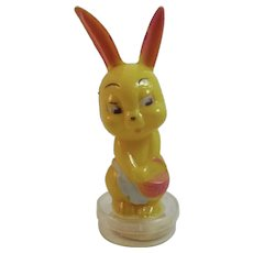 Corwin Plastics Easter Bunny Girl Candy Container Vintage Toy Rabbit