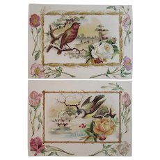 2 Large Ma-Le-Na Victorian Advertising Trade Cards with Winter Scenes, Birds and Roses Malena Co Warriorsmark, PA