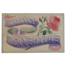 To My Valentine Postcard Heavily Embossed and Air Brushed