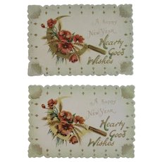 2 unused raphael tuck die cut new years cards from the edwardian era printed in germany