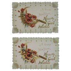 2 Unused Raphael Tuck Die Cut New Year's Cards from the Edwardian Era Printed in Germany German Embossed