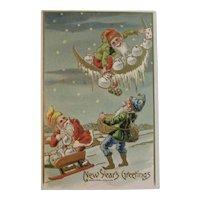 c1911 Gnomes New Year's Greetings Postcard Embossed