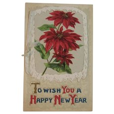 New Year Booklet Postcard Embossed Poinsettias