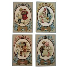 Four Seasons German Valentine Postcard Series from T.P. & Co TP Embossed Germany Heart