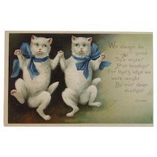 Clivette Dancing Cats with Blue Ribbons Embossed Postcard