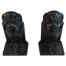 Art Deco Owl Bookends Cast Iron Book Ends