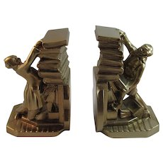 PM Craftsman Man with Falling Stack of Books Bookends Book Ends Librarian Scholar