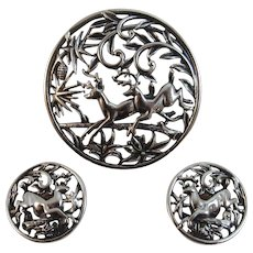 Sarah Coventry Woodland Flight Pin or Pendant and Earrings Set