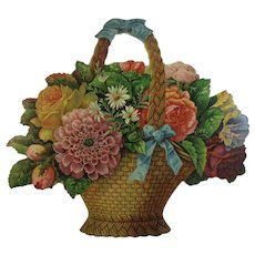 1880s Flower Basket Die Cut Large Advertising Card from McCullough Magnetic Soap Victorian Era