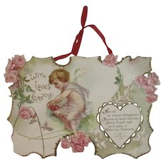 Ellen Clapsaddle Signed Large Die Cut Valentine with Cherub and Red Ribbon