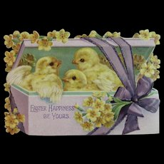 Raphael Tuck & Sons Die Cut Easter Card with Chicks and Flowers Victorian Yellow and Purple Printed in Germany