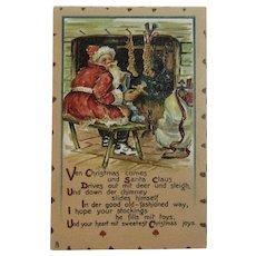 Tuck Leatherette Santa Filling Stockings Postcard Raphael Tuck & Sons