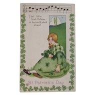 MEP Irish Colleen St. Patrick's Day Postcard Music Song Lyrics Margaret Evans Price Illustrator Unused Embossed Stecher Litho Co Shamrock Border