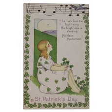 MEP St. Patrick's Day Postcard Music Song Lyrics Margaret Evans Price Illustrator Unused Embossed Stecher Litho Co Shamrock Border