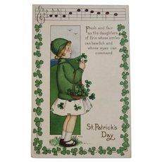 MEP St. Patrick's Day Postcard Music Song Lyrics Margaret Evans Price Illustrator Unused Embossed Daughters of Erin