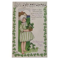 MEP St. Patrick's Day Postcard Music Song Lyrics Margaret Evans Price Illustrator Unused Embossed Stecher Litho Co Irish Shamrock Border