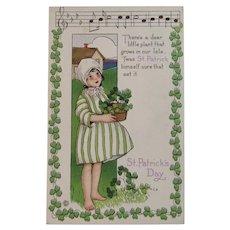 MEP St. Patrick's Day Postcard Music Song Lyrics Margaret Evans Price Illustrator Unused Embossed Stecher Litho Co Irish Shamrock Border