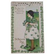 MEP St. Patrick's Day Postcard Music Song Lyrics Margaret Evans Price Illustrator Unused Embossed Stecher Litho Co Shamrock Border Irish Lass
