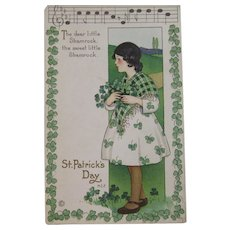 MEP St. Patrick's Day Postcard Music Song Lyrics Margaret Evans Price Illustrator Unused Embossed Stecher Litho Co Shamrock Border Irish Lass