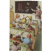 Alfred Mainzer Dressed Cats Postcard Spaceship Space Rockets Lesson at School 4965 Unused