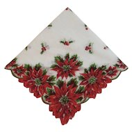 Vintage Christmas Poinsettia Hanky Handkerchief with Scalloped Edges