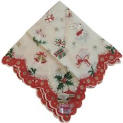 Hand Printed Dacron Christmas Hanky with Original Labels Handkerchief Vintage Mid Century Scalloped Edge