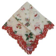 Hand Printed Dacron Christmas Hanky with Original Labels Handkerchief Vintage Mid Century Scalloped Edge