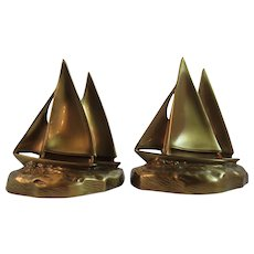 PM Craftsman Brass Sailboat Nautical Bookends Book Ends Sailing Ship