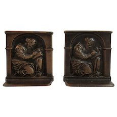 1925 DAL Cast Iron Scholar Bookends Decorative Arts League Book Ends