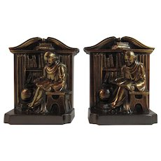 PM Craftsman Monk in Library Bookends Book Ends