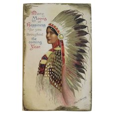 Signed Clapsaddle Indian Maiden New Year Postcard IAP Printed in Germany German International Art Publishing Co Series 1337