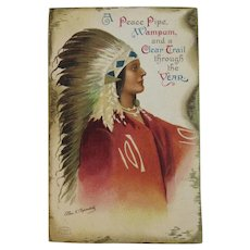 Signed Clapsaddle Indian Chief New Year Postcard IAP Printed in Germany German International Art Publishing Co Series 1337