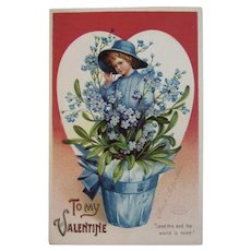 Signed Clapsaddle Valentine Postcard IAP Germany German International Art Publishing Co Series 602 Child in Flower Pot and Heart